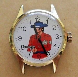 Vintage-wind-up-Cowboy-Western-Sheriff-Character-Watch