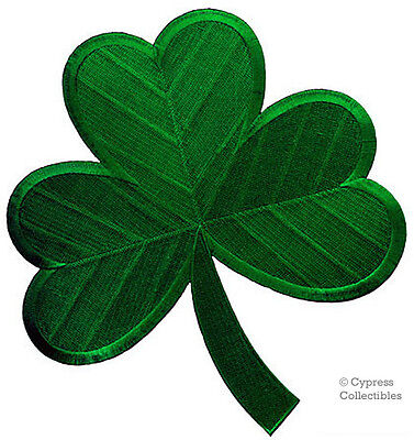 GREEN SHAMROCK PATCH IRISH CLOVER Embroidered Iron-On LARGE LUCKY IRELAND BIG