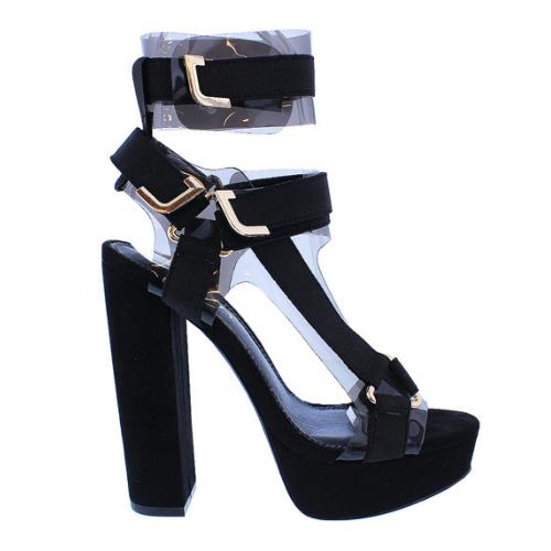 Liliana GLAMROCK-2 nero Clear Elastic Strappy Platform Open Toe Chunky Heel
