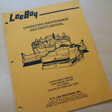 Leeboy 1000c Paver Parts Owner Operator Operation Maintenance Manual Book List