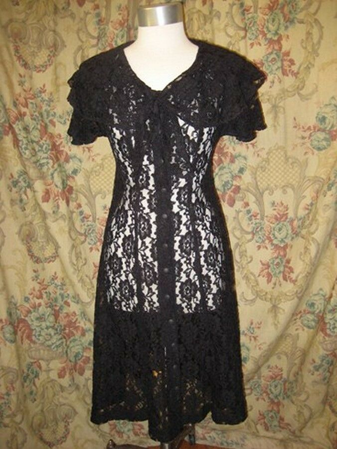 Vintage 80s Lace unlined Dress pinup swing skirt Bombshell peekaboo