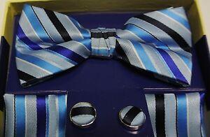 7c383dab08a7 Pre Tied Bow Tie Set Blue Striped Bowtie Pocket Square Cufflinks   eBay