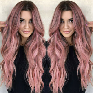 Tremendous Women Long Wig Black Pink Rose Taro Color Ombre Wavy Hair Natural Hairstyles Runnerswayorg
