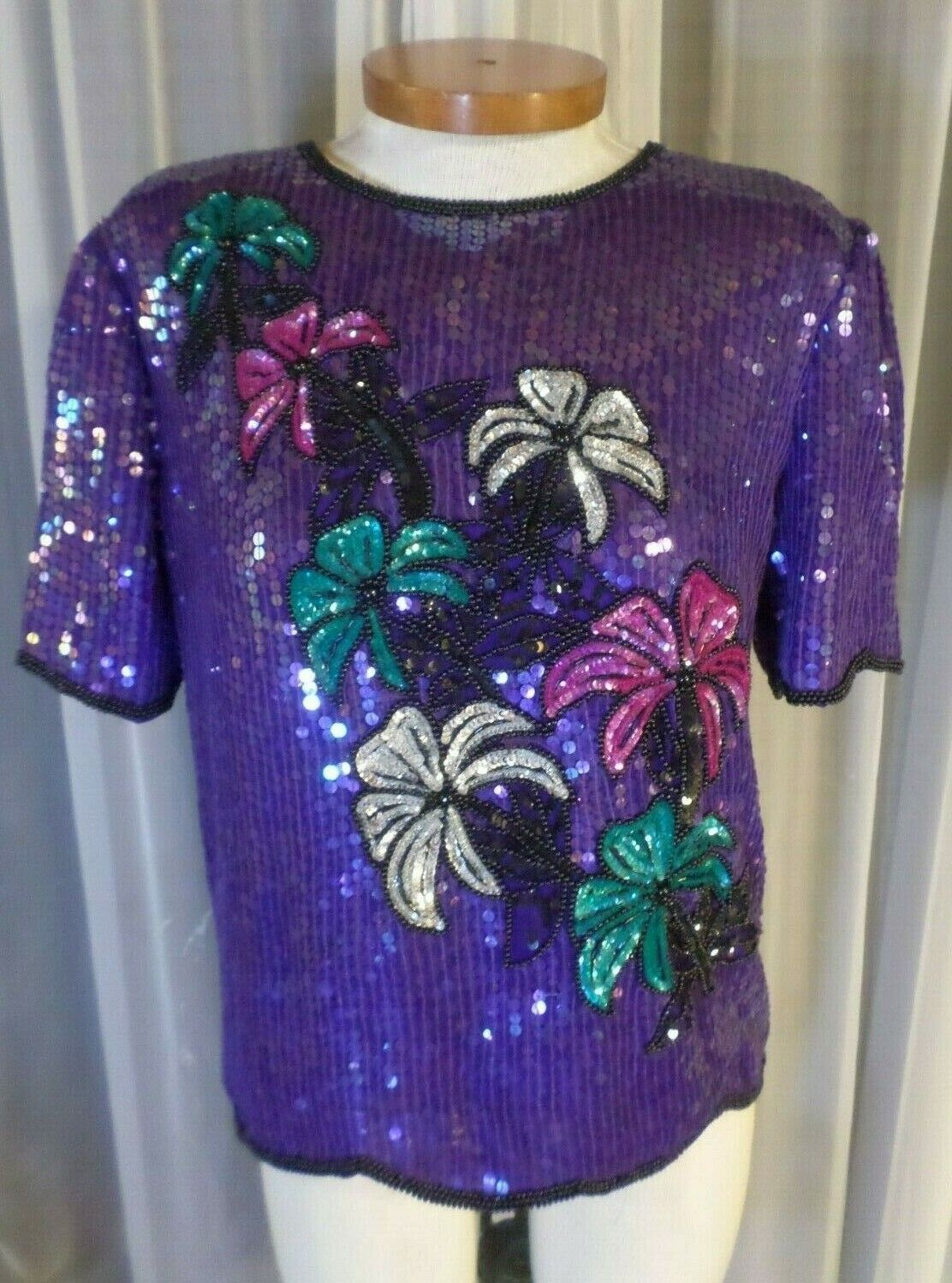 Lady M schwarz lila Blau Silk Blouse Top Woman Bead Sequin Medium Vintage Stenay
