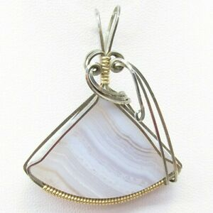 """Blue Lace Agate 33 ct 925 Silver / Gold Plate Wire Wrap Pendant 1.75"""" x 1.5"""""""