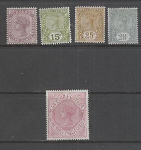 CEYLON-1886-87-X-5-STAMPS-MH-SUPERB-FRESH