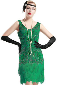e03b5c3b1cc Womens Flapper Dress 1920s V Neck Beaded Fringed Great Gatsby Green ...