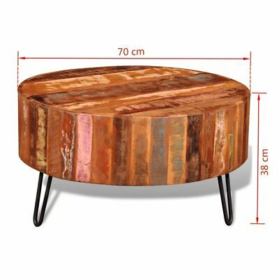 Round Coffee Table Reclaimed Wood 2