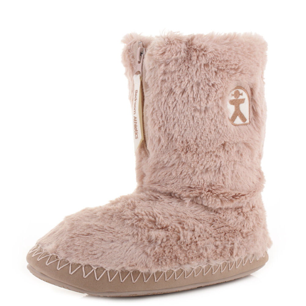 Womens Bedroom Athletics Marilyn Gingerbread Faux Fur Slipper Boots Booties Size