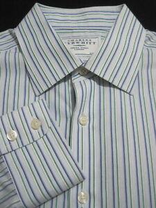 CHARLES-TYRWHITT-Men-039-s-16-34-Slim-Fit-Non-Iron-Blue-Green-Stripe-Dress-Shirt