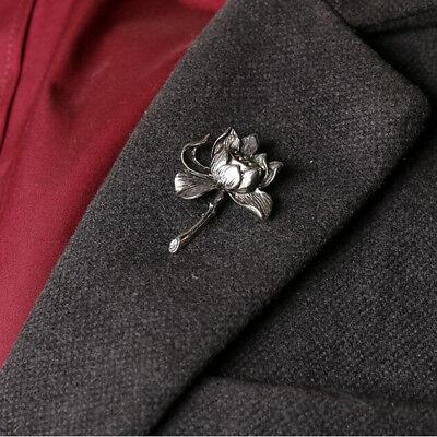 Vogue Antique Silver Gold Lotus Flower Lapel Pins Brooch Men's Fashion  Jewelry | eBay