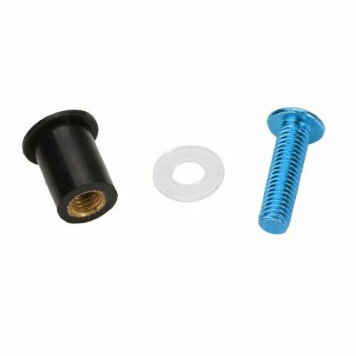 10x Windschild Schrauben Verkleidungsschrauben M5 Windschutzscheibe 5mm Blau #E