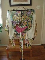 Mandee Boho Hippie Funky Butterfly Floral Tie Front Sheer Bat Wing Top Medium