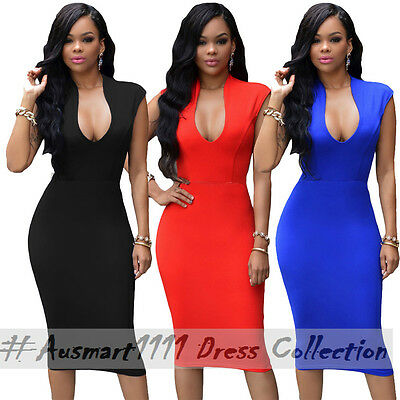 Sexy Midi Stretch Elastic Bodycon Sleeveless V Neck Casual Party Clubwear Dress