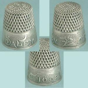 Rare-Antique-Salem-Witch-Sterling-Silver-Thimble-by-Webster-Co-Circa-1890s