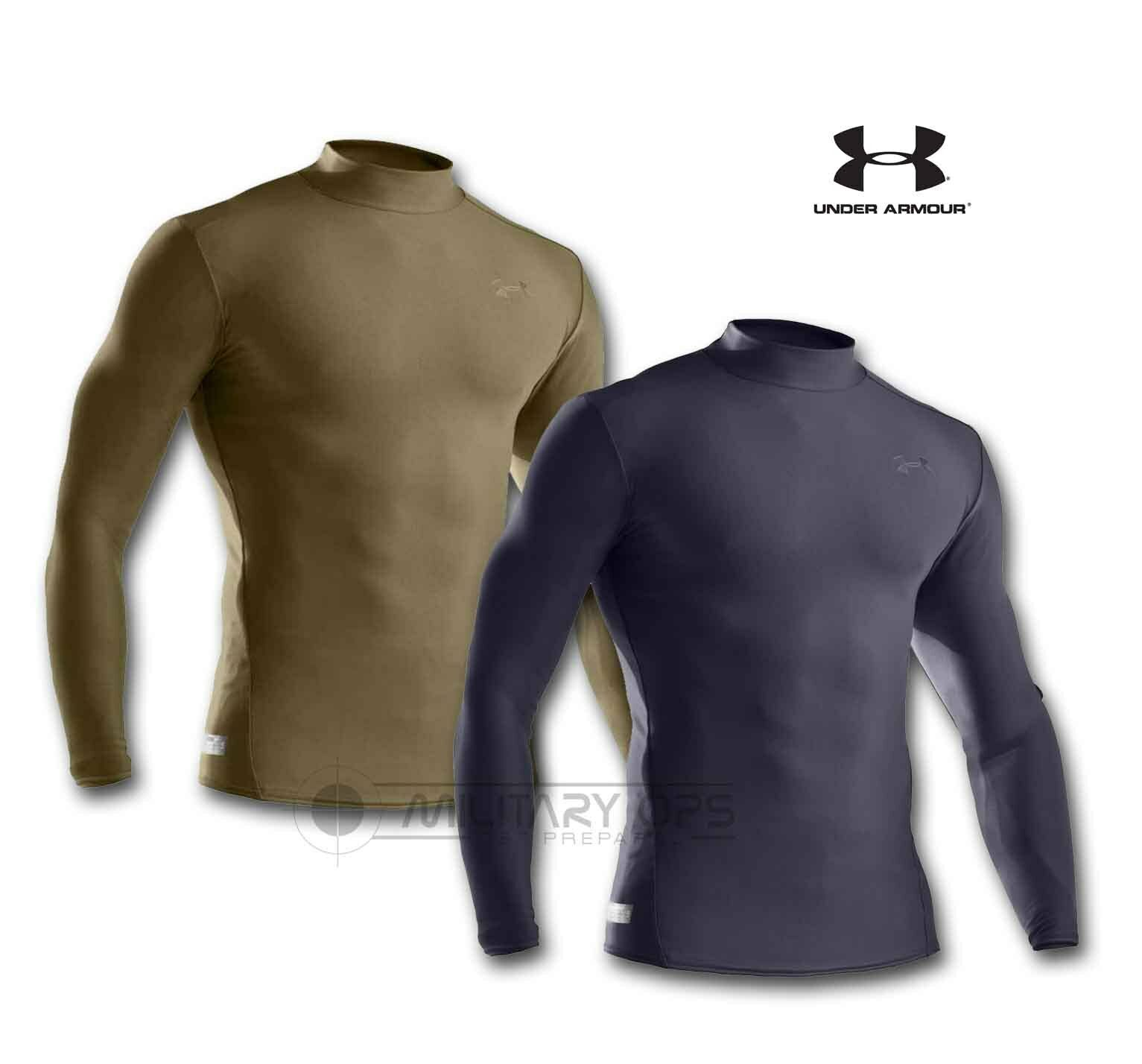 Under Armour Taktisch Mock Hemd Schwarz Olive Compression Kalt