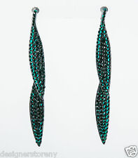 Kenneth Jay Lane Emerald on gunmetal double leaf pierce earrings