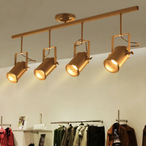 Details About Led Track Lighting Rail Spotlight 4 Heads Adjule Floodlight Ceiling Lamp