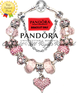 Authentic Pandora Charm Bracelet Silver Pink Love Story With European Charms New Ebay