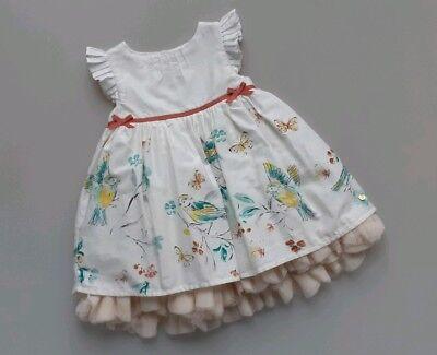 * Indossata Una Volta * M&s Per Neonate Party Dress Bird Stampa __ 0-3 Mesi/eur 62- Materiale Selezionato
