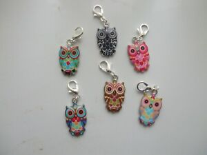 Set-of-6-Stitch-Markers-OWLS-Coloured-Enamel-Knitting-Crochet-Charms-Crafts-etc