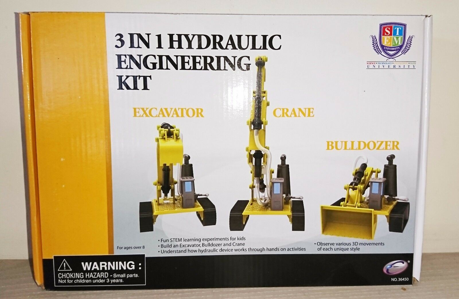 Engineering Hydraulic Construction Model Kit - 3 in 1 Bulldozer Crane Excavator