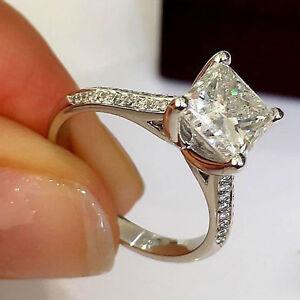 7a3cc810fc034 1.25 Ct Princess Cut Diamond Solitaire Engagement Ring Solid 14K ...