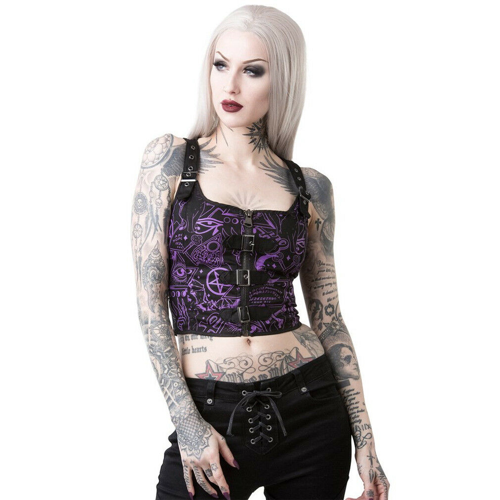 Killstar Gothic Goth Punk Okkult Träger Crop Top Oberteil Miss Morbid Hold Tight