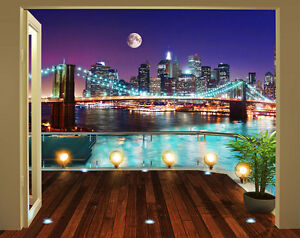 fototapete new york brooklyn bridge bei nacht wandtapete tapetenkleister neu ebay. Black Bedroom Furniture Sets. Home Design Ideas
