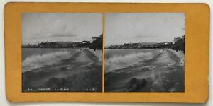 Cannes La Spiaggia Foto P39L9n26 Stereo Stereoview Vintage Analogica