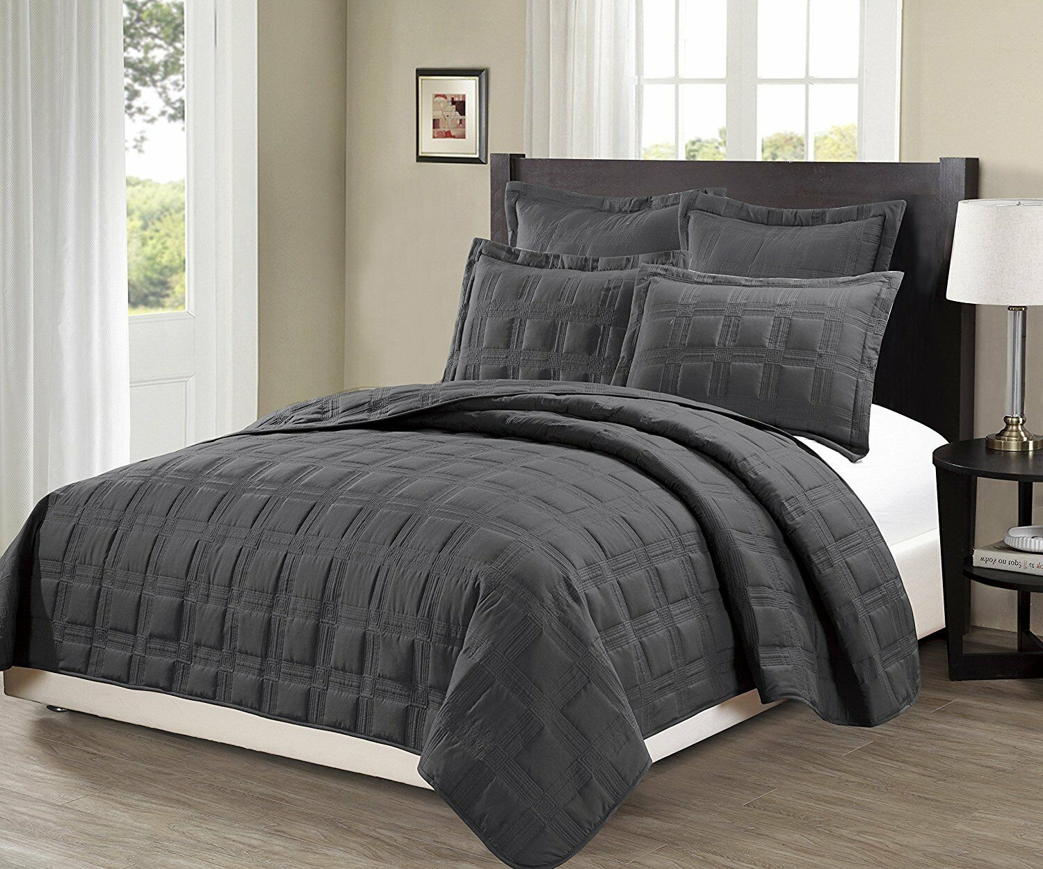 Fancy Linen 3pc OverGröße Target Quilted Embroidery Solid Charcoal Bedspread New