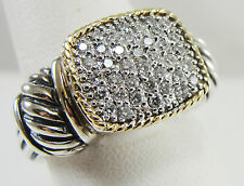 EFFY Sterling Silver 18K Yellow Gold Accent Diamond Rectangle Cluster Ring Sze7