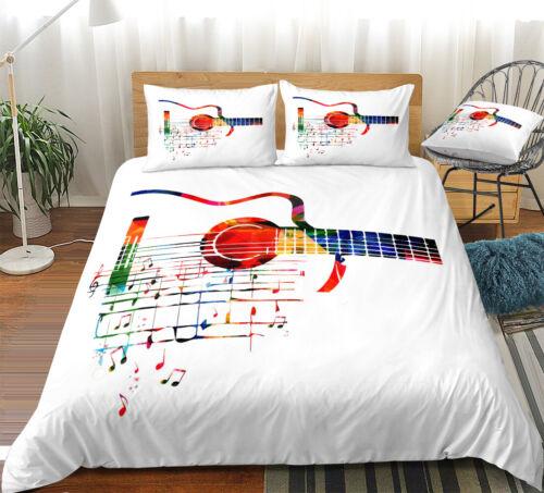 Guitar Music Note Musical King Double Simple Couette Couette Oreiller Couverture Ensemble De Lit