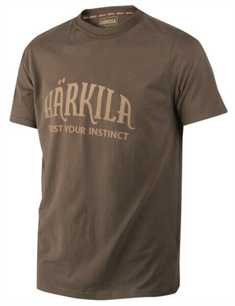 Harkila T Shirt Logo Slate Brown Men's Short Sleeve Country Hunting Shooting