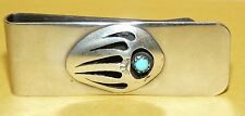 "~VINTAGE~NATIVE~NAVAJO~STERLING~SILVER & TURQUOISE~""BEAR CLAW""~DESIGN~MONEY-CLIP"