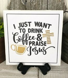 Home-Decor-Sign-Ceramic-Tile-w-Easel-Cross-Religious-Coffee-Jesus-Print-7-5-034