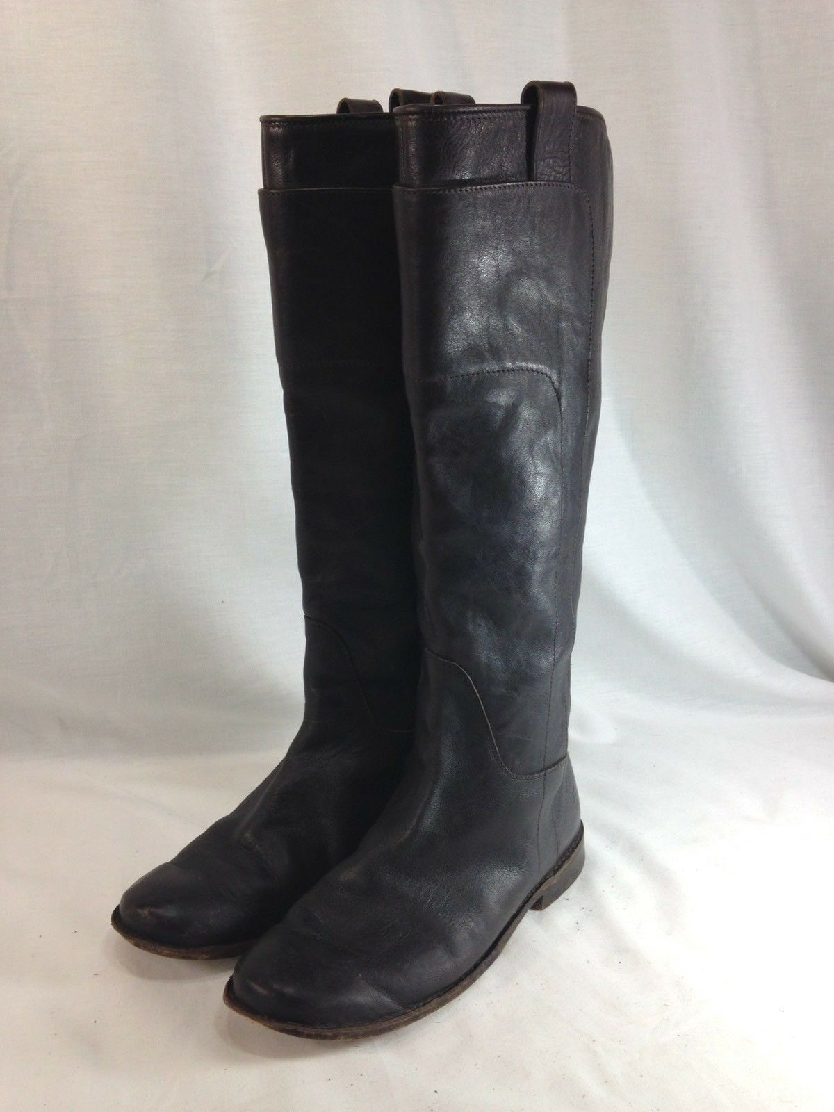 Frye Paige Boots Womens 7 M Dark Brown Leather Tall Riding Boots