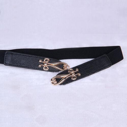 Women Skinny Waist Belt Buckle Elastic Stretch Dress Belt Narrow Thin Waistband