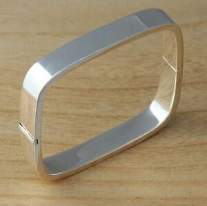 Solid-925-Sterling-Silver-Square-Bangle-Bracelet-Plain-10mm-Heavy-UK-Hallmarked