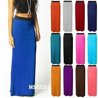 Womens Plain Gypsy Long Jersey Maxi Dress Skirt Ladies Skirt 8-22