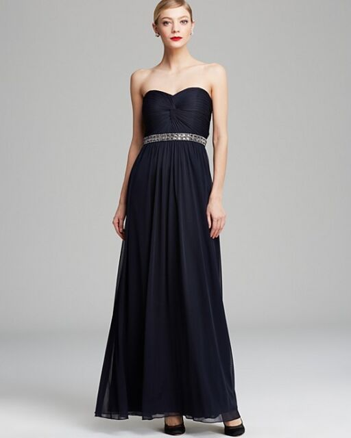 Aqua 7504 Womens Navy Chiffon Embellished Strapless Formal Dress ...