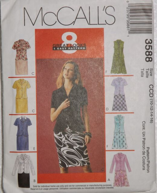 Skirts and Jackets Size 10-16 McCalls 3588 Sewing Pattern | eBay