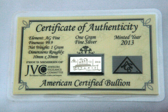 ACB 1 Gram AG Bar 99.9 Fine SILVER with Certificate of Authenticity Gr8 Gift !