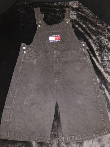 VTG 1990's TOMMY HILFIGER Black Overalls shorts Sp