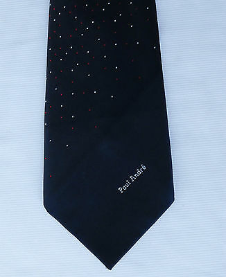 Vintage polka dot tie Paul Andre Keynote Littlewoods 1970s dark navy blue spot