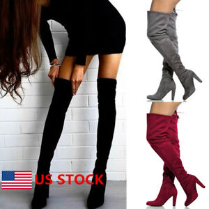 Women's Pointed Toe Thigh Boots Over Knee High Boots Stretch Suede Stilettos Boots