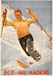 Original Russian Ski Poster 1948 by Maria Nesterowa - Go Skiing