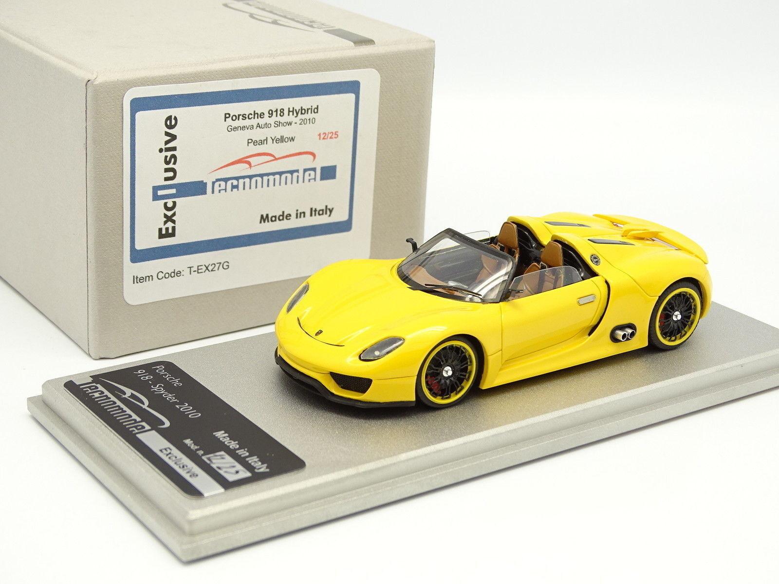 Tecnomodel 1 43 - Porsche 918 Hybrid Geneve 2010 Pearl Yellow 25 Ex
