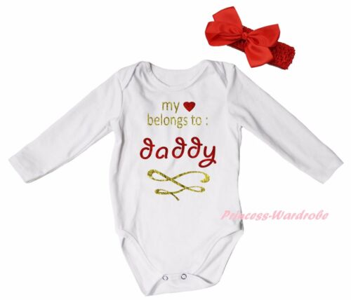 My Heart Belongs To Daddy White Baby Girl Bodysuit Jumpsuit Romper Outfit NB-18M