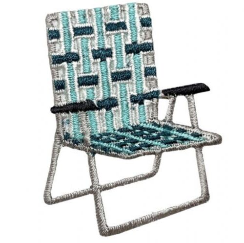 """Iron on Lawn Chair Applique Patch Camping Webbed Seat Badge 2/"""""""